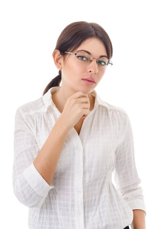 hesitancy: portrait of a young woman in a white blouse on a white background