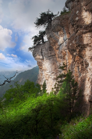 magnificent mountain landscape with clouds and fog relief Stock Photo - 18487509