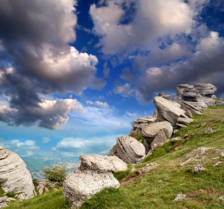 magnificent mountain landscape with clouds and fog relief Stock Photo - 18487541