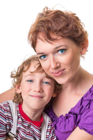 portrait of happy mother with her son. Isolation on white background photo