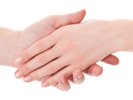 woman's hand: supports the mans hand a gentle womans hand