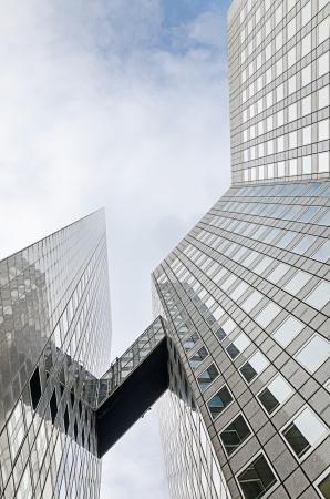 Large skyscrapers shot with a fisheye lensLa Défense major business district near Paris, France