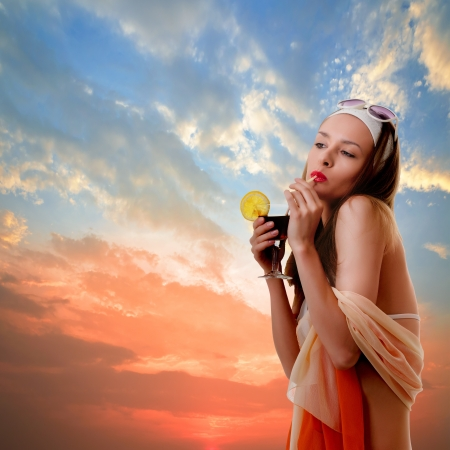 young woman at the beach dress  collage  Stock Photo - 20384349