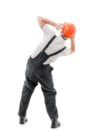 riskiness: Figure confident worker on white background