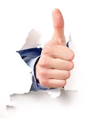 lenguaje corporal: mano muestra la AUTORIZACIÓN de la muestra a través del papel rasgado Foto de archivo