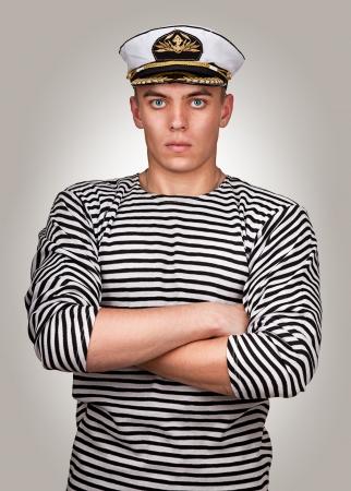 marinero: Retrato de un marinero militar en el estilo de Esquire Foto de archivo