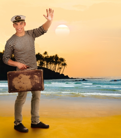 Portrait of a sailor with a suitcase , collage photo