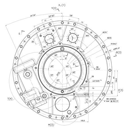 커버 존재하지 않는 내부 연소 엔진의 설계 도면.