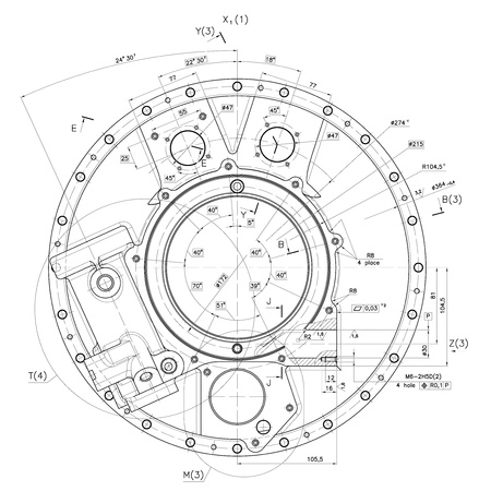 Design drawings of cover nonexistent internal combustion engine.