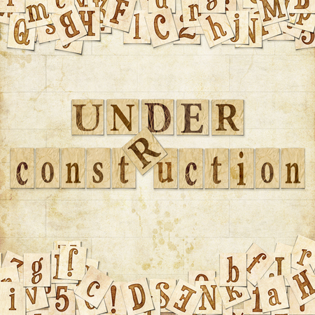 obstacle course: Text  under construction  on the artistic background