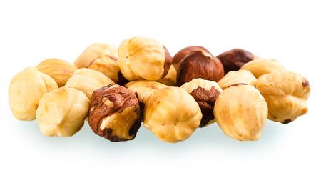 말린 된 껍질을 벗 겨 볶은 hazelnuts 더미 스톡 콘텐츠