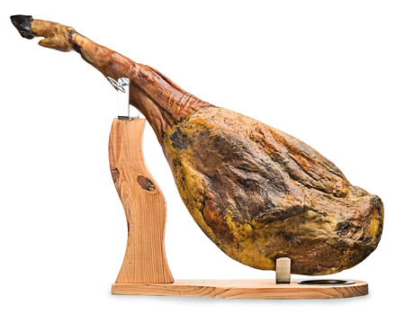 A front leg of Serrano ham mapped on a wooden stand on a white background