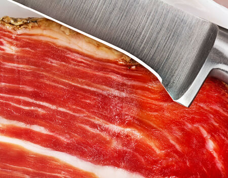 slice of jamon closeup photo