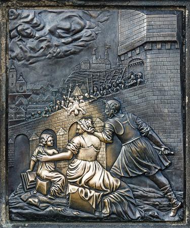 notability: Detail from martyrium of st  john, Charles bridge in Prague Stock Photo
