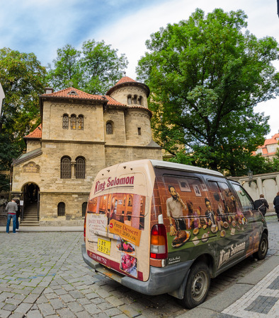 PRAGUE, CZECH REPUBLIC - SEP 02, 2013 Staronova synagogue in Prague It is the oldest active synagogue in the Europe It was built in 1270 To the left - entrance to the Old Jewish Cemetery in Prague Jewish Quarter Czech Republic, Sep 02, 2013 Sajtókép