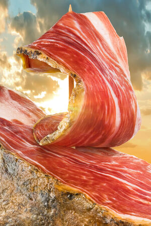 acorn: slice of jamon closeup Stock Photo