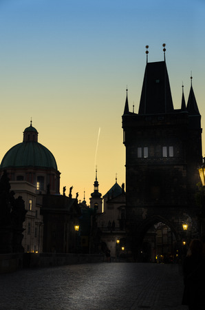 PRAGUE, CZECH REPUBLIC - SEP 07  Prague silhouettes from Charles Bridge before dawn on Sep 07, 2013