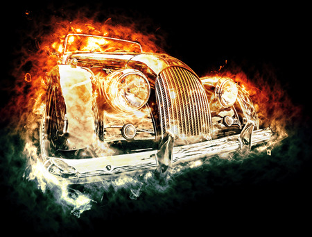 Burning car. art Stock Photo