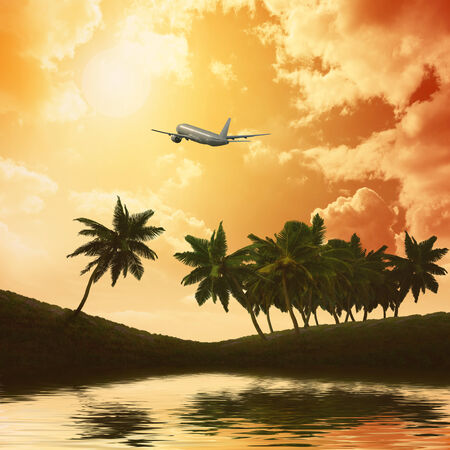 Silhouettes of palm trees on the artistic background photo
