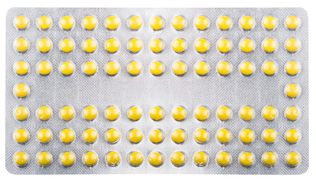 packs of pills: Silver blister packs pills collection Stock Photo
