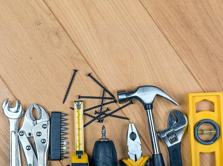 tools set on a wooden background Stock Photo
