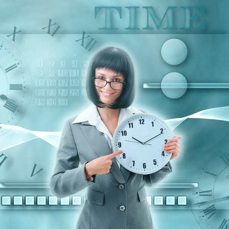 attire: young woman in office attire with clock on art background Stock Photo