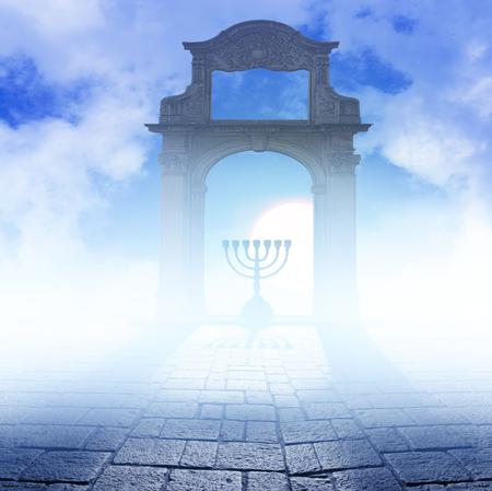 hanuka: Silhouette of jewish lightstand called Menorah . Symbol of winter light festival called Hanuka ( Hanukka , Chanukkah ). Stock Photo