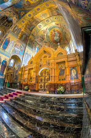 ST. PETERSBURG, RUSSIA - JULY 14, 2016: Interior of Church of the Savior on Spilled Blood. Architectural landmark and monument to Alexander II. The central iconostasis of the cathedral.