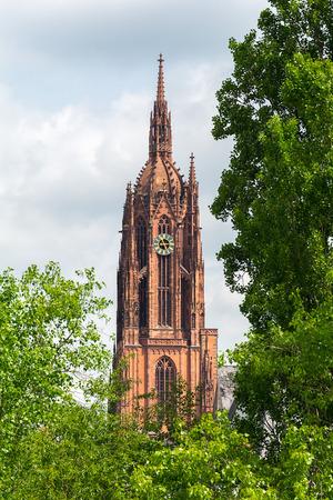 roemerberg: FRANKFURT AM MAIN, GERMANY - MAY 20, 2016: Frankfurt Cathedral , Frankfurt in Germany. It is also called Frankfurter Dom, or Cathedral of Saint Bartholomew.