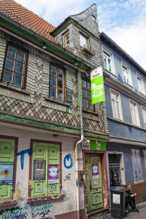 sachsenhausen: FRANKFURT AM MAIN, GERMANY - MAY 18, 2016: Sachsenhausen with its half-timbered houses  - the historic southern bank of the river Main, which preserved its typical 19th century character, very different from the modern northern bank punctured by skyscrape Editorial