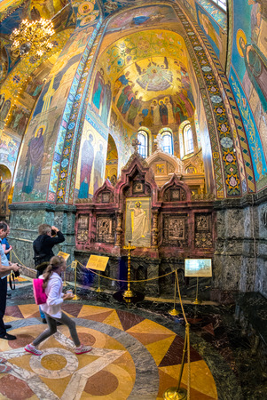 ST. PETERSBURG, RUSSIA - JULY 14, 2016: Interior of Church of the Savior on Spilled Blood. Architectural landmark and monument to Alexander II. Church contains over 7500 square meters of mosaics. South kiot