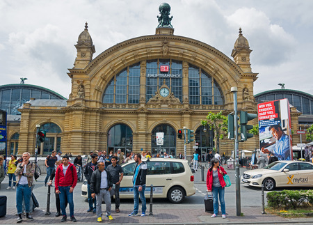 FRANKFURT AM MAIN, GERMANY - MAY 20, 2016: The front side of Frankfurts main railroad station. More than 350,000 travelers use this station every day. The central station has more than 25 platforms.