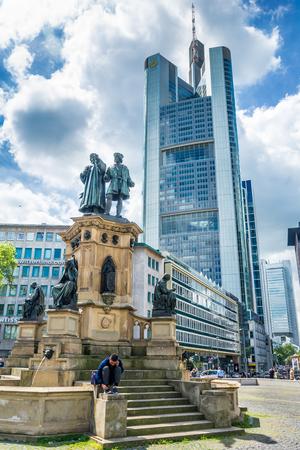 FRANKFURT AM MAIN, GERMANY - MAY 19, 2016: The Johannes Gutenberg monument on the southern Rossmarkt (1854 - 1858, by sculptor Eduard Schmidt von der Launitz). Johannes Gutenberg - inventor of book printing. Frankfurt am Main, Germany. Editorial