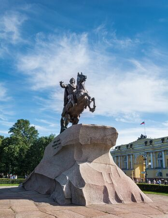 ST. PETERSBURG, RUSSIA - JULY 11, 2016: Monument of Peter the First in Saint Petersburg, Russia