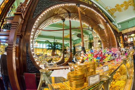 emporium: ST. PETERSBURG, RUSSIA - JULY 14, 2016: Elisseeff Emporium in St. Petersburg is a large retail and entertainment complex, including a famous food hall, constructed in 1902�1903 for the Elisseeff Brothers. , Example of Art Nouveau architecture. Editorial