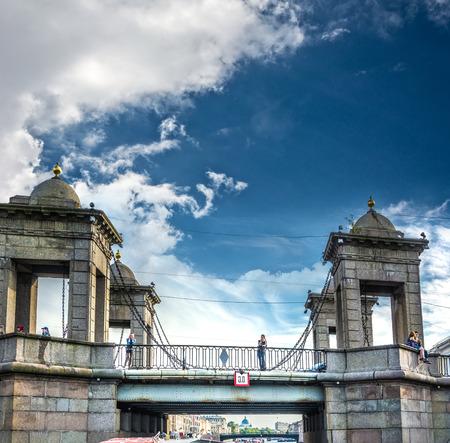 ST. PETERSBURG, RUSSIA - JULY 14, 2016: Lomonosov Bridge across the Fontanka River