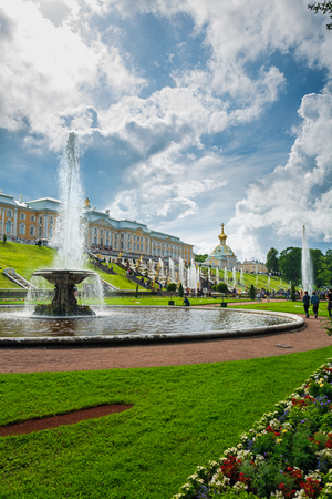 PETERHOF, RUSSIA - JULY 13, 2016: Grand cascade in Pertergof, Saint-Petersburg, Russia
