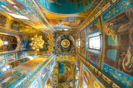 ST. PETERSBURG, RUSSIA - JULY 14, 2016: Interior of Church of the Savior on Spilled Blood. Architectural landmark and monument to Alexander II. Church contains over 7500 square meters of mosaics. Editorial