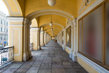 ST. PETERSBURG, RUSSIA - JULY 14, 2016: Open gallery of the second floor of Gostiny Dvor, St. Petersburg, Russia
