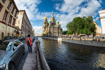ST. PETERSBURG, RUSSIA - JULY 16, 2016: Church of the Saviour on Spilled Blood , Griboedova Canal, Saint Petersburg, Russia.