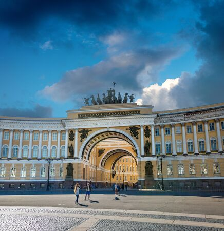 quadriga: ST. PETERSBURG, RUSSIA - JULY 10, 2016:  Arch Building - General Army Staff Building in Saint Petersburg, Russia. Classicism-epoch style.