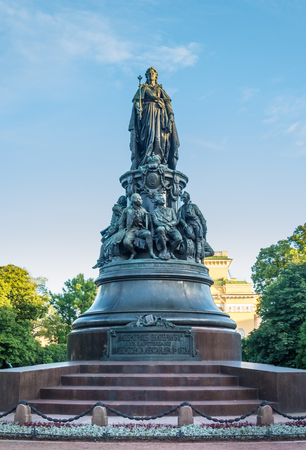 scepter: ST. PETERSBURG, RUSSIA - JULY 11, 2016: Monument to Catherine the Great, Saint Petersburg, Russia