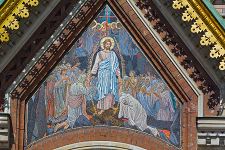 ST. PETERSBURG, RUSSIA - JULY 14, 2016: Interior of Church of the Savior on Spilled Blood. Architectural landmark and monument to Alexander II. Church contains over 7500 square meters of mosaics. mosaic on the outside of the Church of the Savior on Blood,
