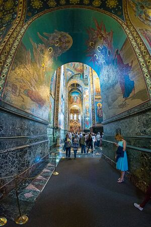 ST. PETERSBURG, RUSSIA - JULY 14, 2016: Interior of Church of the Savior on Spilled Blood. Architectural landmark and monument to Alexander II. Church contains over 7500 square meters of mosaics. Redakční