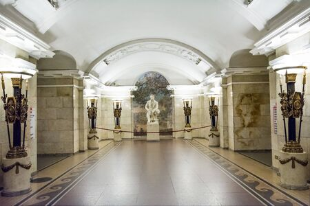 pushkin: ST. PETERSBURG, RUSSIA - JULY 16, 2016: the interiors of the subway station Editorial