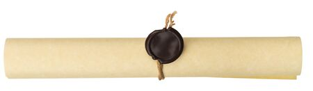 Ancient scroll with wax seal on white