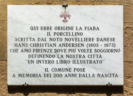 FLORENCE, ITALY - MAY 10, 2019: Qui ebbe origania la fiaba il porcellino scritta dal noto novelliere danese hans Christian Andersen