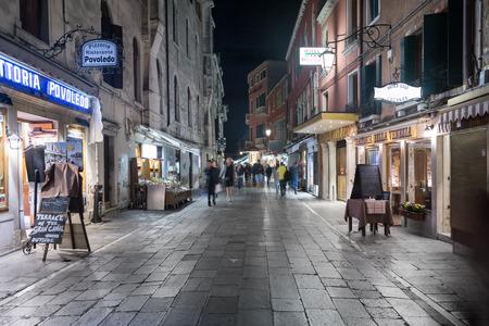Venice, Italy - Sep 30, 2018: Night view Rio Tera Lista di Spagna direction to Train Station