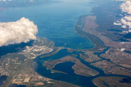 Dam of the Kiev reservoir in Ukraine with a bird's-eye view
