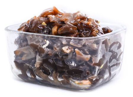 Chinese pickled muer mushroom in a glass container